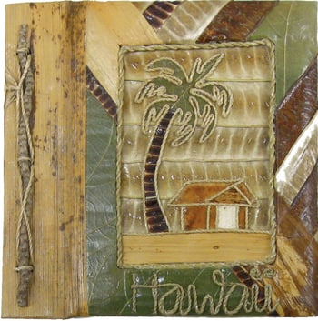"9""x11"" Palm Tree Hut Hawaii Photo Album"