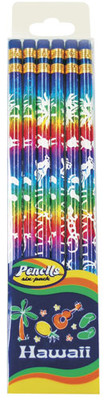 6 Pack Rainbow Foil With White Print Pencils