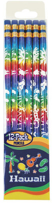 12 Pack Rainbow Foil With White Print Pencils