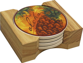 Hawaiian Ceramic Coasters - Pineapple Splash