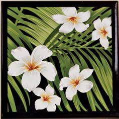 Black Plumeria Palm Ceramic Tile Trivet