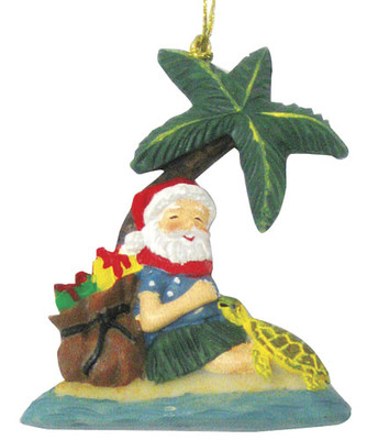 Christmas Ornament (Flat) - Honu Under Palm