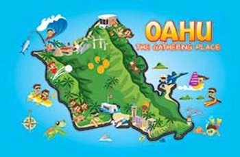 Oahu Fun Map Playing Cards