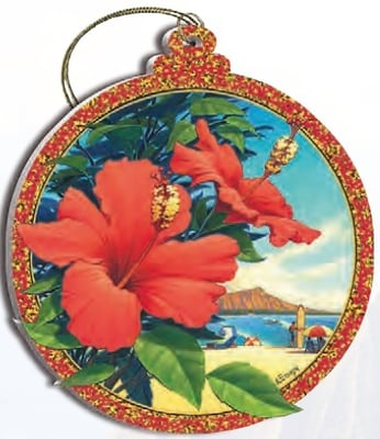 Hawaii Christmas Ornament - Red Hibiscus