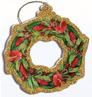 Hawaii Christmas Ornament - Tropical Holiday Wreath
