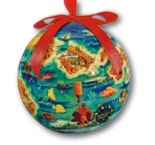 Hawaii Christmas Ornament Ball - Dole Map HI Islands (Set of 4)