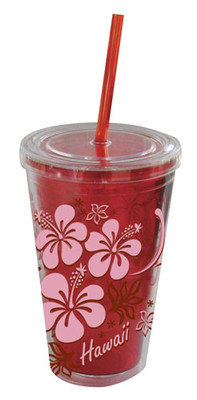 Tumbler w/ Straw Hibiscus Red