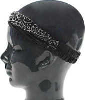 Island Headband - Batik Black with White