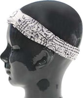 Island Headband - Batik White with Black