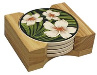 Hawaiian Ceramic Coasters - Plumeria Palm