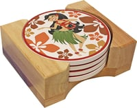 Hawaiian Ceramic Coasters - Hula Girl Coaster
