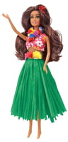 Doll - Nohea with Green Raffia Skirt Hawaii's Lovely Hula Maiden