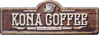 Metal Wall Sign - Kona Coffee