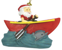 Christmas Ornament (Flat) - Santa Canoe Paddle