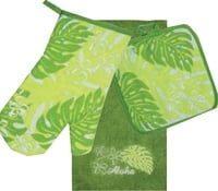 3 Piece Kitchen Towel Set - Monstera