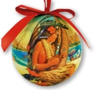 Hawaii Christmas Ornament Ball - Island Holiday (Set of 4)