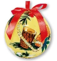 Hawaii Christmas Ornament Ball - Holiday Island Scene (Set of 4)