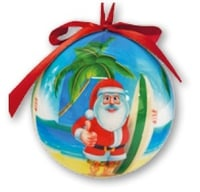 Hawaii Christmas Ornament Ball - Tropical Beach Santa (Set of 4)