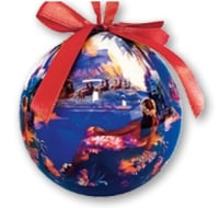 Hawaii Christmas Ornament Ball - Santa Flies South Seas (Set of 4)