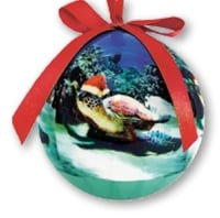 Hawaii Christmas Ornament Ball - Turtle Santa (Set of 4)