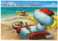 "Boxed 4""x6"" Hawaii Christmas Cards - Going Surfing Santa"
