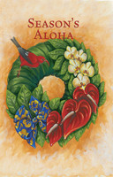 "Boxed 5""x7"" Hawaii Christmas Cards - Red Bird, Green Wreath"