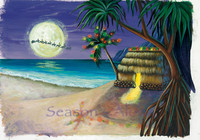 "Boxed 5""x7"" Hawaii Christmas Cards - Little Grass Shack"
