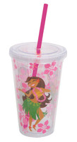 Tumbler with Straw Hula Girl