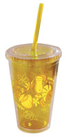 Tumbler w/ Straw Tropical Drinks Yellow