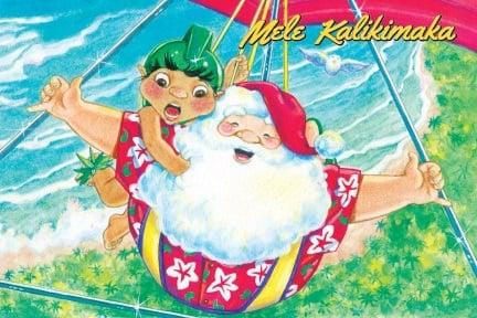 boxed 4x6 hawaii christmas cards santa hang glide - Hawaiian Christmas Cards