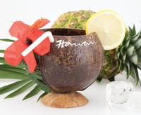 Coconut Cup with Straw & Flower